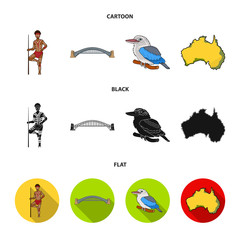 Aborigine with a spear, Sydney Harbor Bridge, kookabarra on a branch, the territory of the country.Australia set collection icons in cartoon,black,flat style vector symbol stock illustration web.