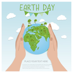 Earth Day Background concept. Flat Illustration design. hands holding a globe with buildings and trees.