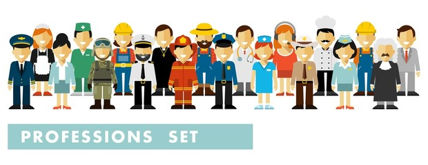 People occupation characters set in flat style isolated on white background. Different people professions characters stand in a row