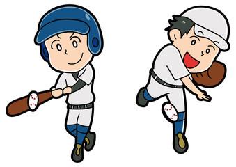 野球をする男性のイラスト素材セット