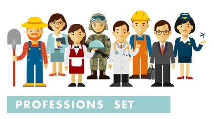 People occupation characters set in flat style isolated on white background. Different people professions characters standing together. Workers and staff.