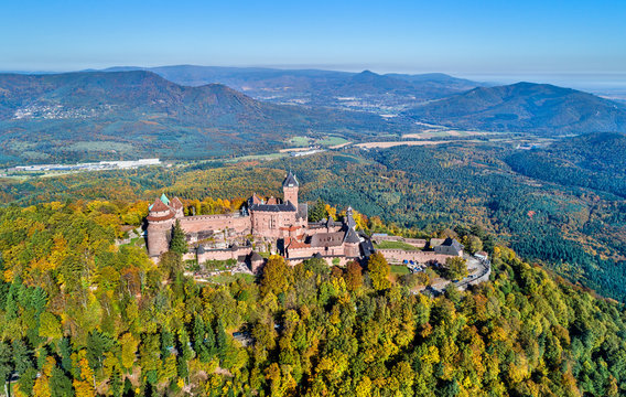Aerial panorama of the Chateau du Haut-Koenigsbourg in the Vosges mountains. Alsace, France