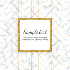 minimalist placard, white marble or stone texture with gold line and glitter frame. Template for design invitation, card, banner, wedding, baby shower, placard, poster, party, flyer