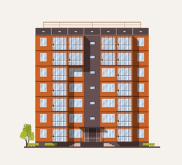 Fototapete - Exterior or facade of tall city apartment building built with concrete prefabricated panels or blocks in modern architectural style isolated on white background. Flat colorful vector illustration.