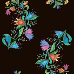 Seamless pattern with floral decorative elements