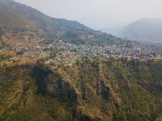 Aerial view of Kusma in Parbat district, Nepal