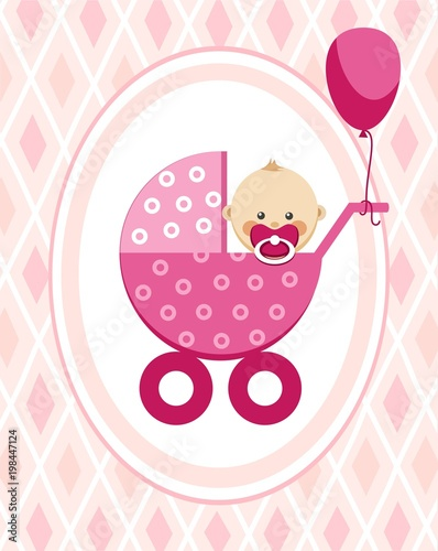 newborn baby girl greeting card pink rhombus vector a little girl