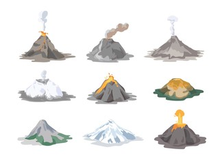 Collection of inactive and active volcanoes erupting and emitting smoke, ash clouds and lava isolated on white background. Bundle of volcanic eruptions. Colorful vector illustration in flat style. Fototapete