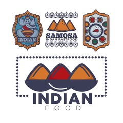Indian food cafe or restaurant and product icon template of elephant and curry spice