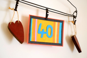 Number 40 anniversary celebration card against a bright white background