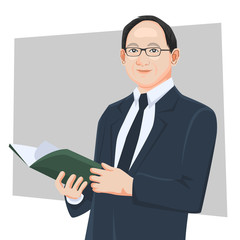 Businessman real cartoon character adult handsome smart guys standing reading book flat design in front view on white and color background for presentation office work flat vector illustration