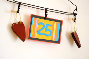 Number 25 anniversary celebration card against a bright white background