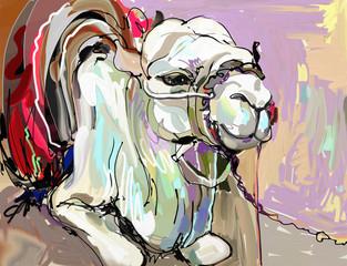 original digital painting artwork of white camel
