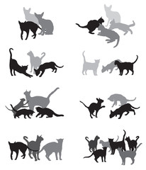 Set of vector group of cats silhouettes