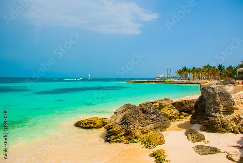 exotic paradise tropical resort caribbean sea jetty near cancun