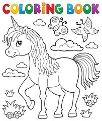 Poster For Kids Coloring book happy unicorn topic 1