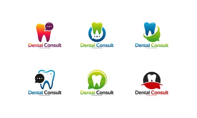 Collection of Dental Consult logo designs concept vector, Dental logo template