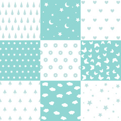 Cute set of kids seamless patterns with fabric textures