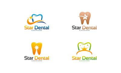 Set of Star Dental logo designs concept vector, Shine Dental logo template vector, Dental logo