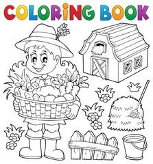 Coloring book woman farmer theme 1