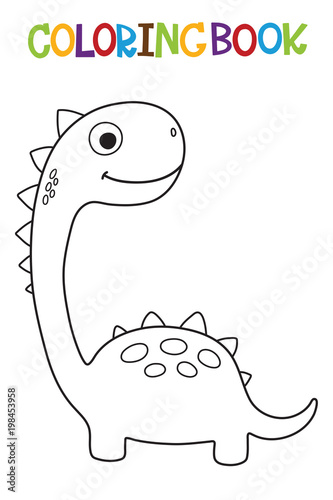 Cute Dino Coloring Book Vector Illustration