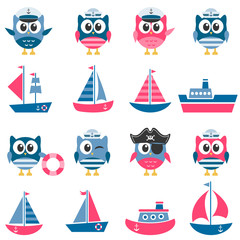 Owls sailors and boats set