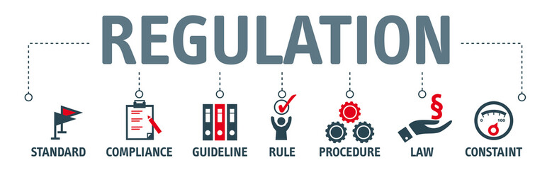 Banner Regulation Compliance Rules Law Standard vector illustration concept