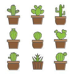 Set of vector cactus icons on white background. Easy editable layered vector illustration.