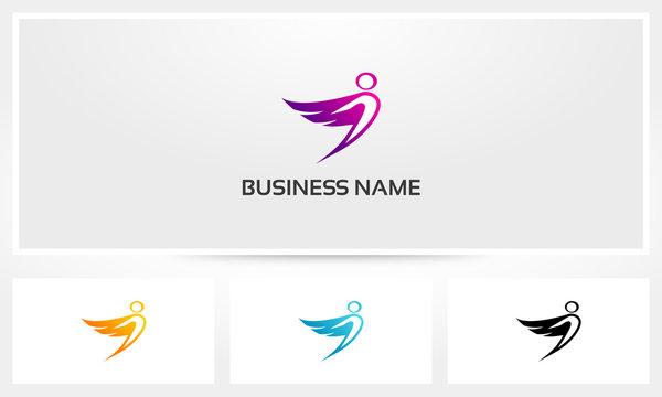 Icarus Wings Flying Angel Man Logo