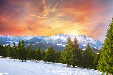Sonnenuntergang Winterlandschaft