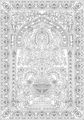 Arabic tile fresca flower black white