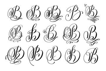 calligraphy lettering script font B set