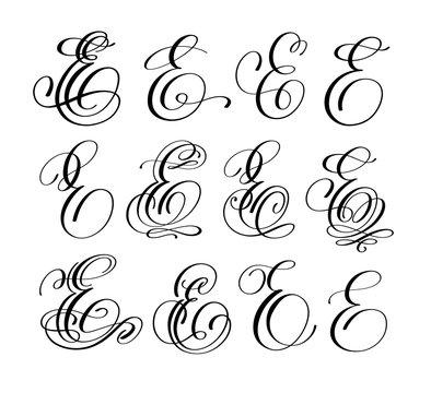 calligraphy lettering script font E set