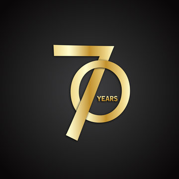 70 YEAR ANNIVERSARY Gold Vector Icon