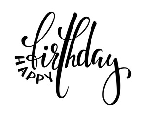 Happy birthday. Hand drawn calligraphy and brush pen lettering. design for holiday greeting card and invitation of baby shower, birthday, party invitation.