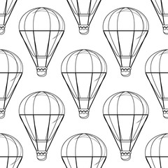 Vintage balloon Vector image on a white background. Seamless vector pattern with hot air balloon Balloon festivals