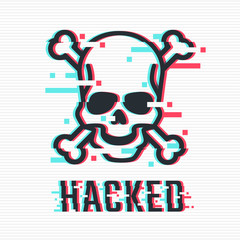 Hacked glitch text. Skull and bones illustration in glitch style. Warning about hacker attack. Pirate sign. Vector eps 10.