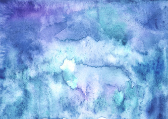 Watercolor blue background, blot, blob, splash of blue, purple paint on white background. Watercolor blue, purple sky, spot, abstraction. Abstract art illustration, scenic background