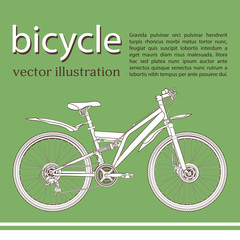 Bicycle cartoon contour drawing, banner, card, cover, coloring, sketch. White with black outline picture bike half-face with many multiple details and text on a green background, vector illustration