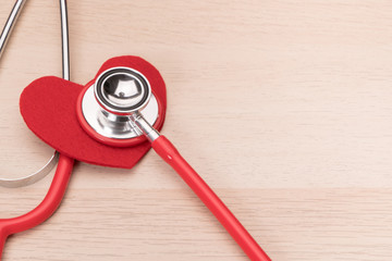 stethoscope and red heart symbol, healthcare and medicine, healthy and insurance, world health day concept