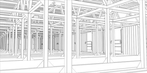 3d illustration of industrial interior