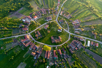 Charlottenburg - beautiful unique circular village in Romania seen from above at the sunset by a professional drone