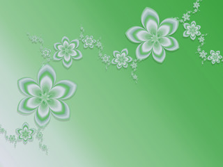 Green gradient background with garlands of flowers. Fractal