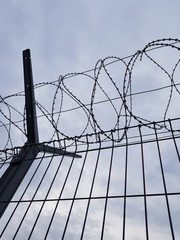 Fence with a barbed wire at the airport of Sochi.