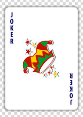 Joker playing card isolated on transparent background. Vector illustration.