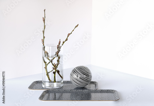 Pussy Willow Branches In Simple Glass Vase Stock Photo And Royalty