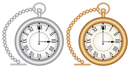 Vintage pocket watch - Gold and silver - Vector