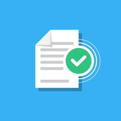 Check mark and document isolated on background. Confirmed document, declaration, summary, report. Checkmark. Vector Illustration in modern flat style.