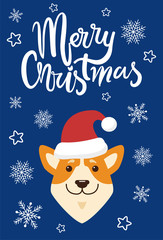 Merry Christmas and Dog Icon Vector Illustration