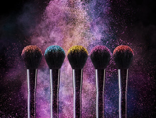 Cosmetic Brushes And Explosion Colorful Powders.